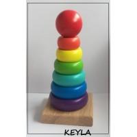 Дървен сортер пирамида с цветни рингове