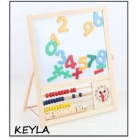 Дървена магнитна дъска със сметало,часовник и цифри