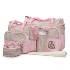 Комплект чанти за аксесоари Stella розов цвят
